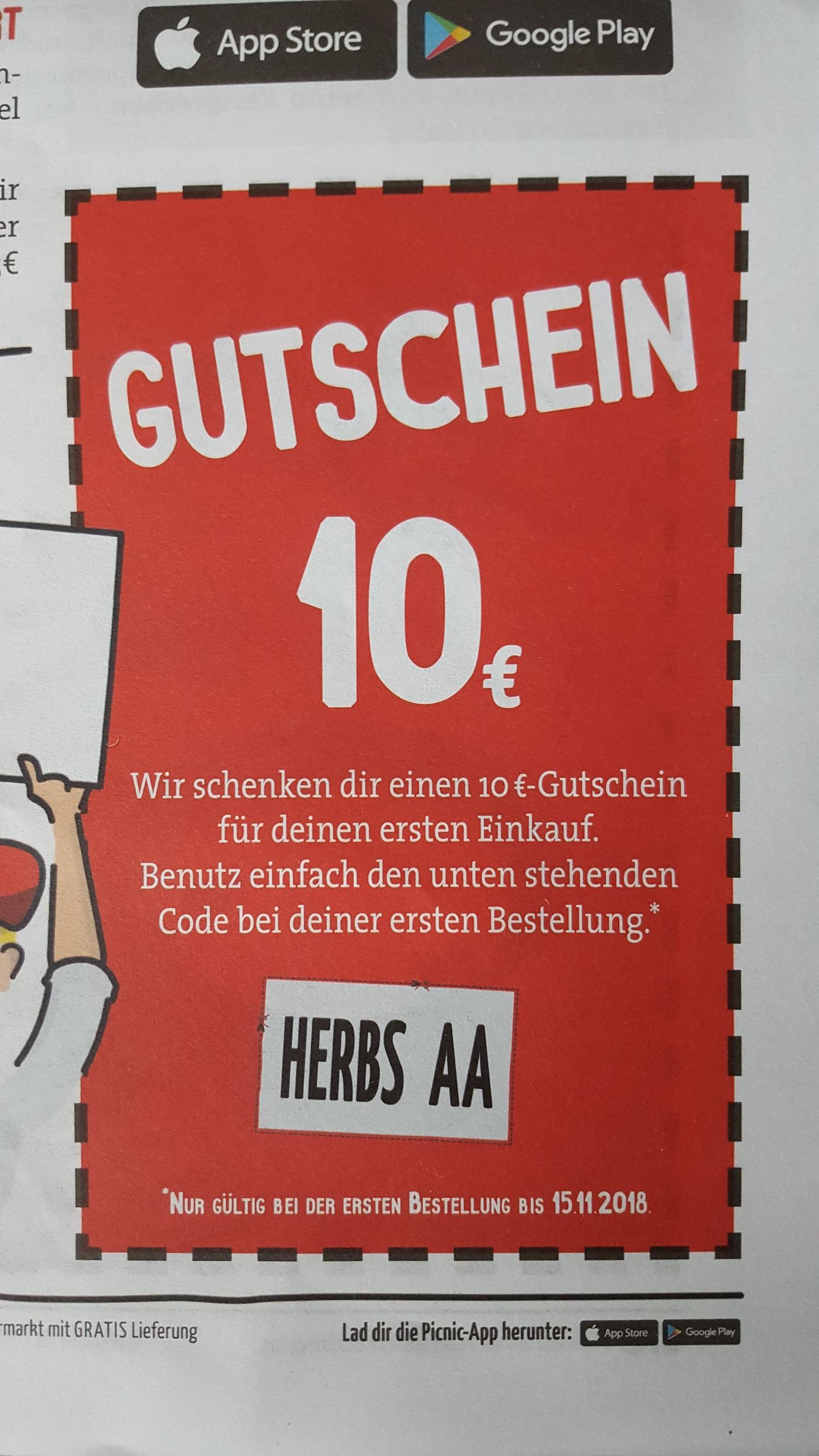 Picnic-App Gutschein (lokal NRW)