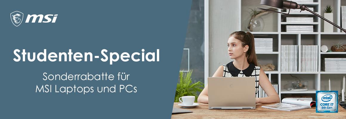 Studenten-Special: Sonderrabatte für MSI Laptops und PCs