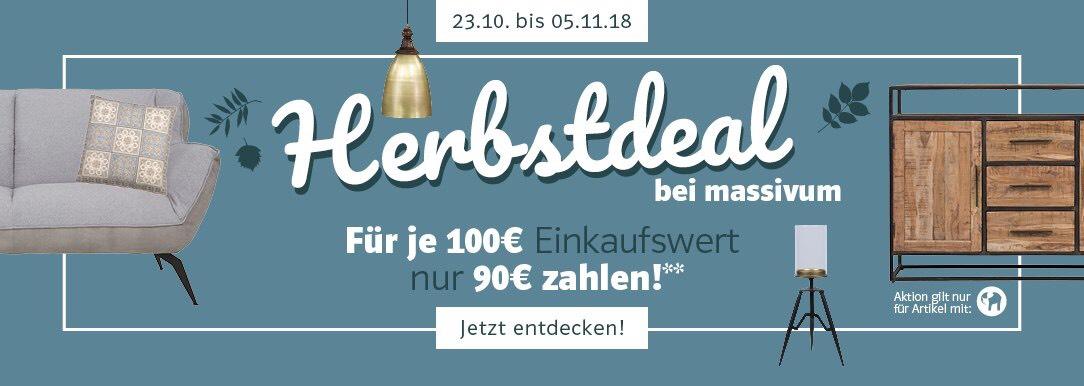 Massivum On- und Offline: 10 € Rabatt je 100 € Einkaufswert auf ausgewählte Artikel