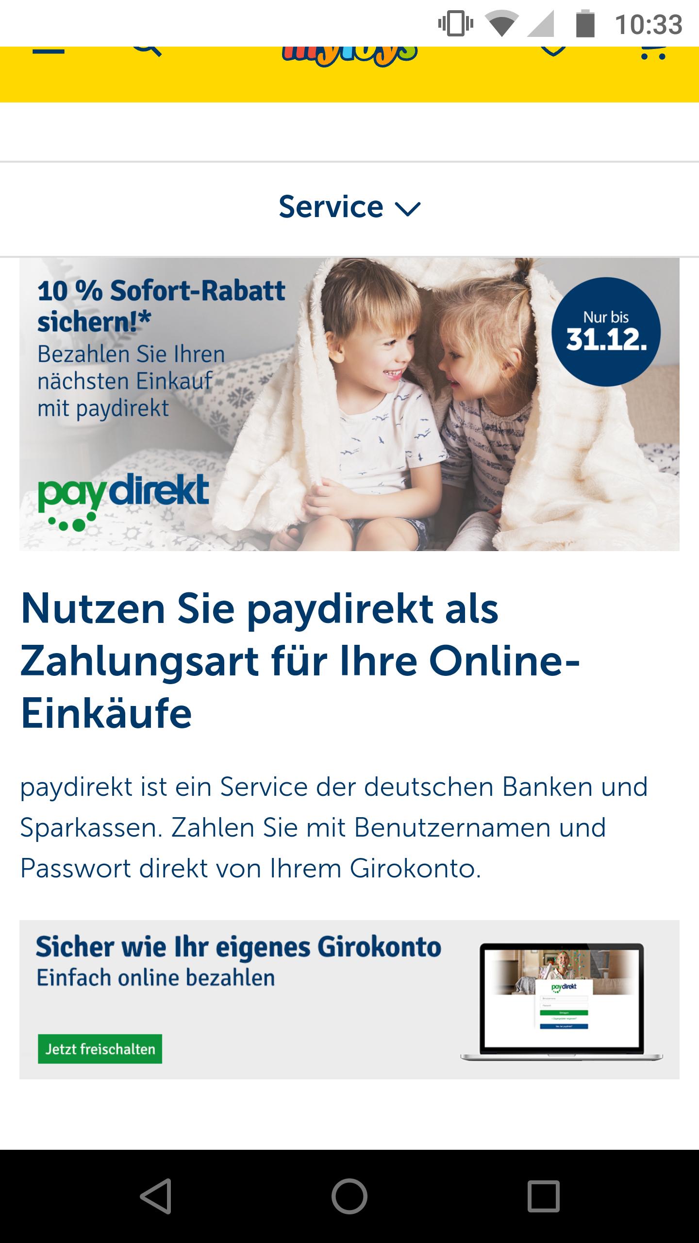 10 % Rabatt bei myToys bei Bezahlung mit Paydirekt