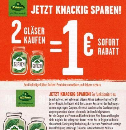 [Lokal] WEZ - 2 Gläser Kühne Gewürzgurken für 1,22 (0,61 pro Glas)