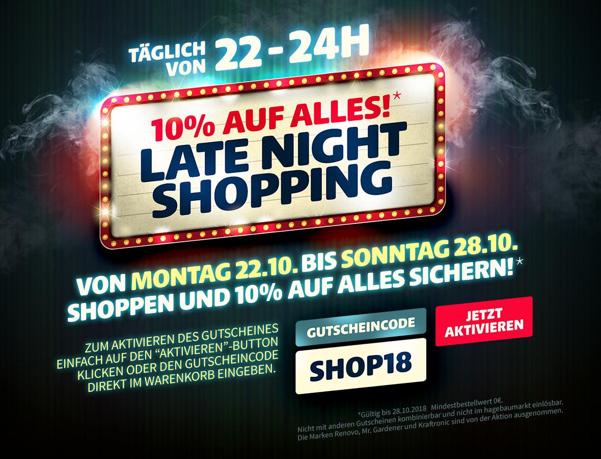 [hagebau.de] 10% auf alles beim Late Night Shopping von 22-24 Uhr bis zum 28.10.2018