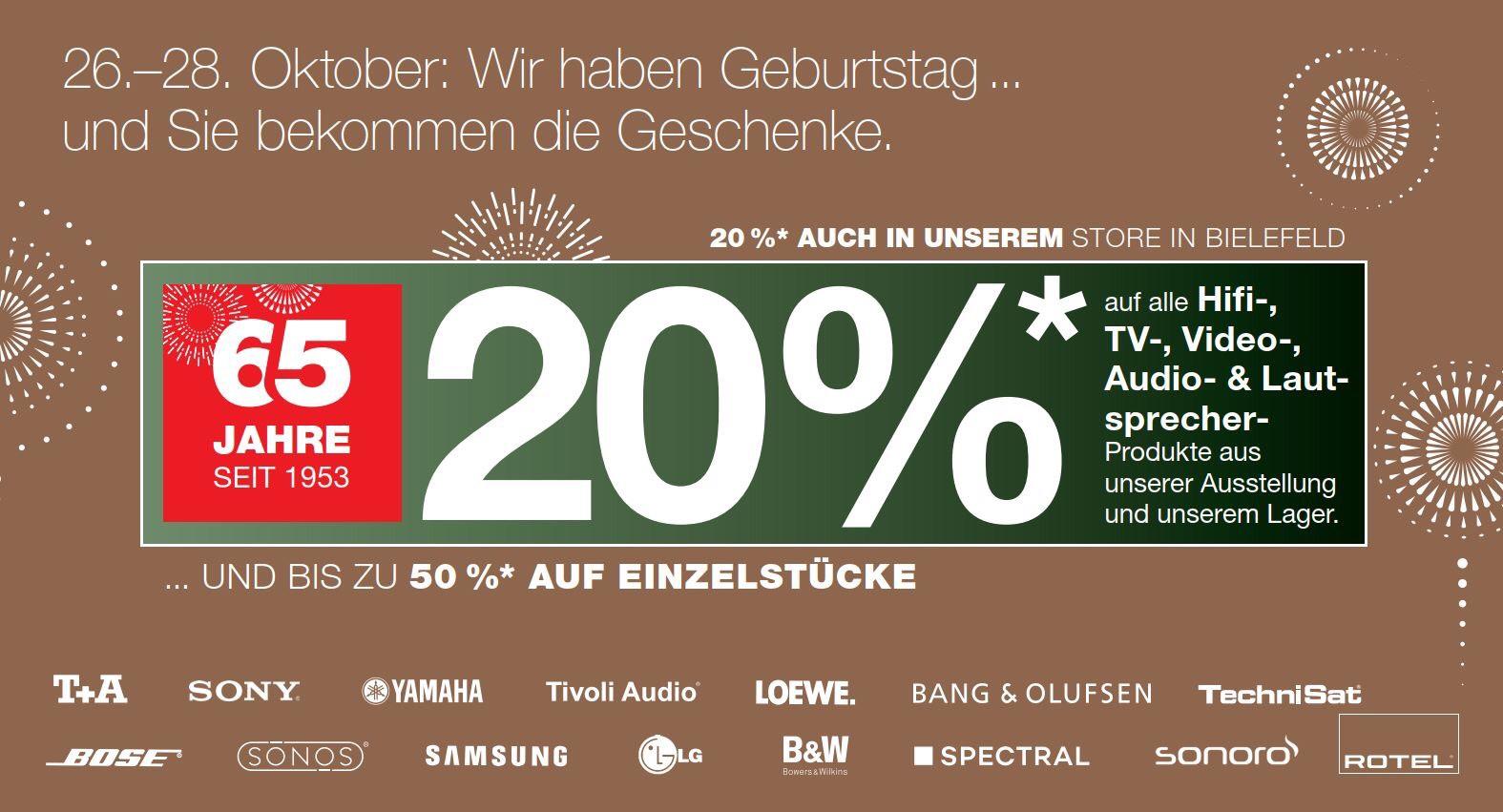 20% auf HiFi, TV, Video, Audio und Lautsprecher [Lokal] in Verl & Bielefeld bei Beckhoff, z.B. Sonos, Bose, Samsung, LG, LOEWE, B&O, Sony
