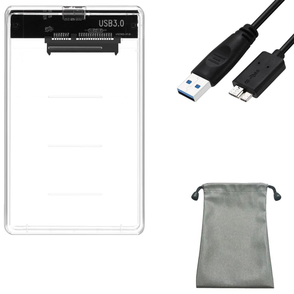 """Transparentes 2,5""""-Festplattengehäuse inkl. USB 3.0-Kabel und Tasche"""