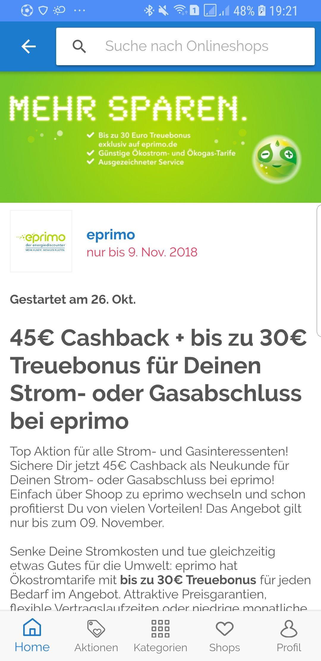Eprimo, Gas oder Strom wechseln und 45€ Cashback bei shoop  kassieren,  dieses mal bis zum 9.11.18