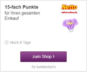 Deutschlandcard Netto-online 15-Fach Punkte und Gutscheine = ca. 17,5% Rabatt