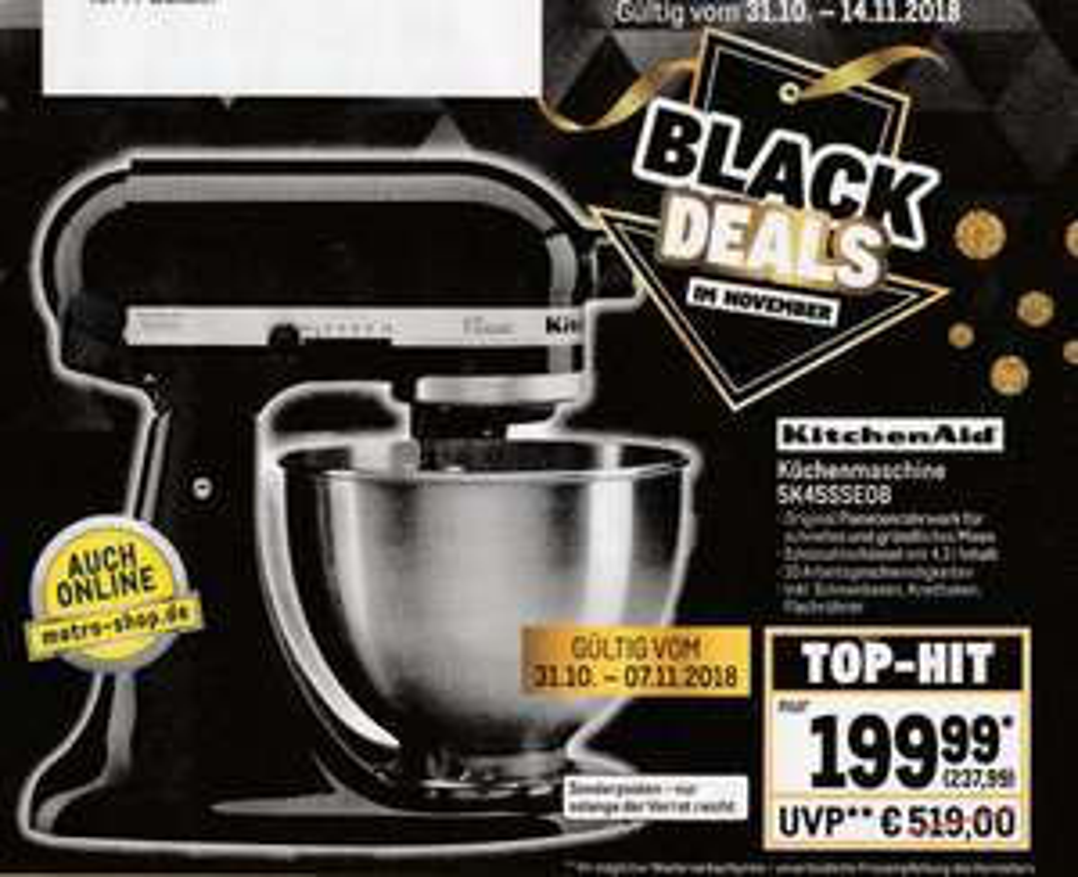 [Metro online/offline] KitchenAid 5K45SSEOB 4,3L Classic black online/offline / Idealo 319€