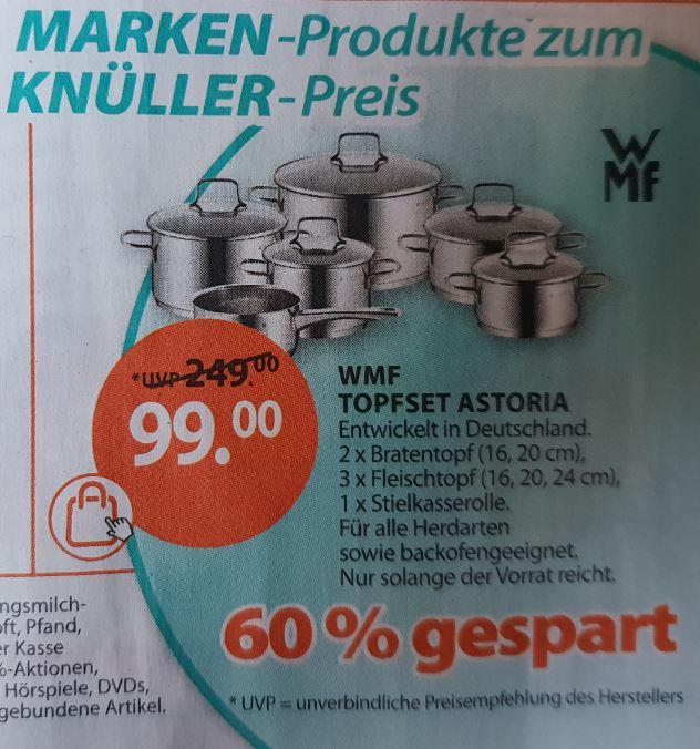 Ab Montag - Drogerie Müller: WMF Topfset Astoria 6-teilig für 99,00 Euro / nach Abzug 20% Gutschein 79,20 Euro.