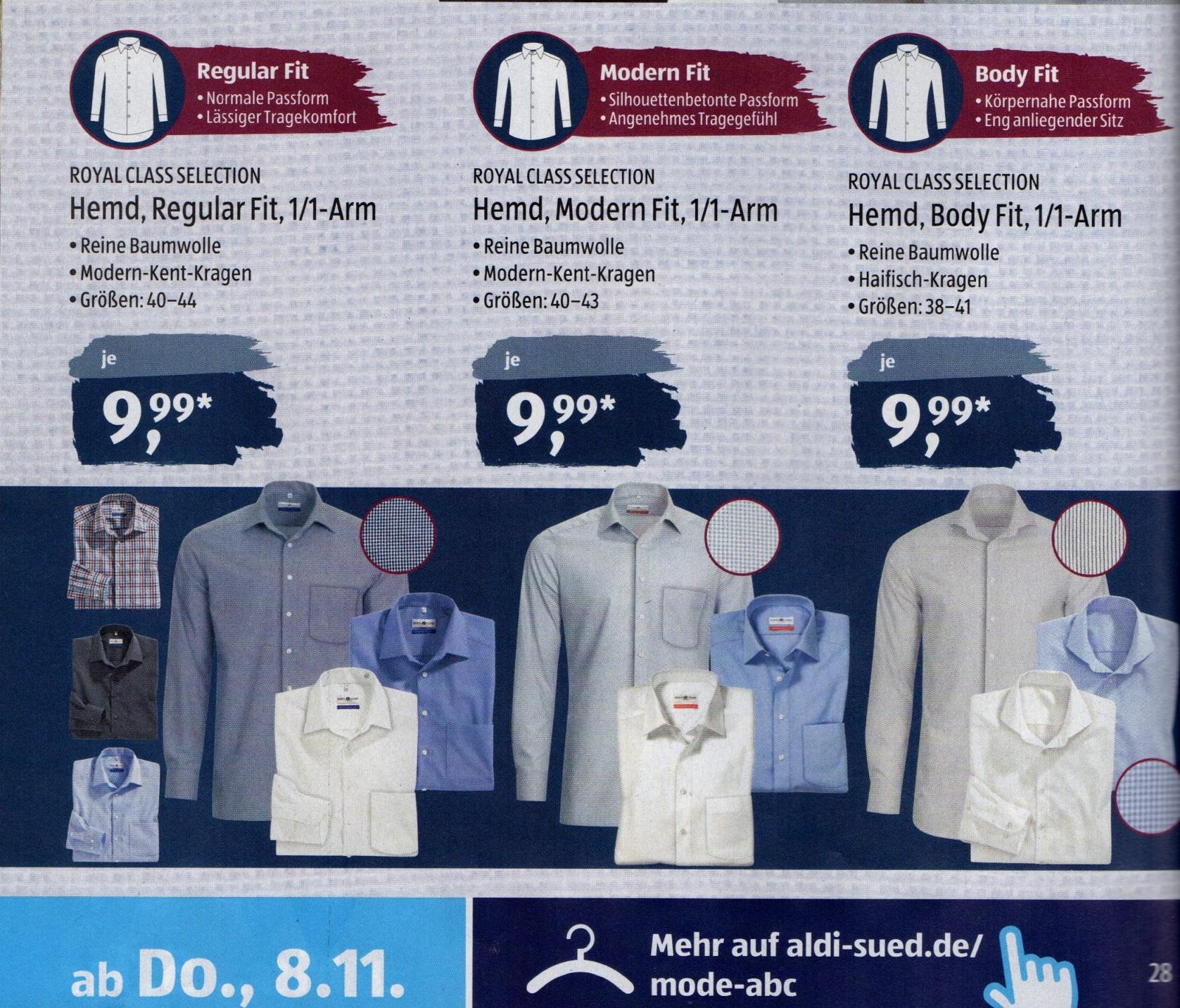 [offl./Aldi Süd] Royal Class Selection Hemden regular/modern/body fit [ab 8.11.]