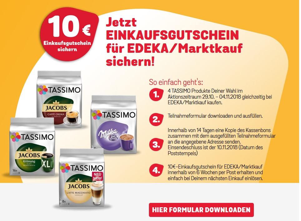 [ EDEKA / MARKTKAUF ] 4x Tassimo Produkte kaufen und 10€ Edeka/Marktkauf Gutschein erhalten