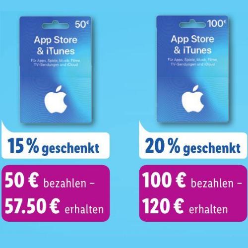 Bis zu 20% zusätzliches iTunes Guthaben [Lidl ab 05.11.]