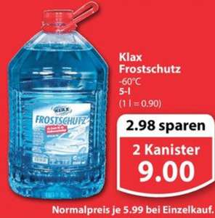 2x Klax Scheiben-Frostschutz bis -60°C 5l Kanister für 9,00€ (4,50€/Stück) [Famila Nordwest]