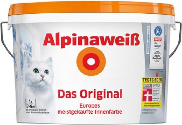 """Alpina Weiß """"Das Original"""" mit Katze 10L [Hornbach TPG]"""