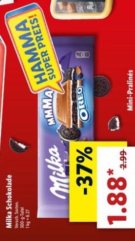 (Lidl Bundesweit) Milka 300g Tafel versch. Sorten für 1,88€