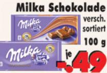 Milka Tafelschokolade ver. Sorten 100g für nur 0,49€ [Kassel Umland]