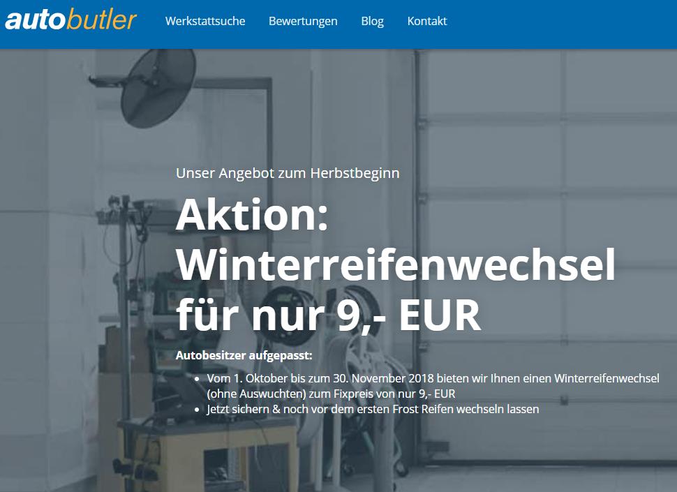 Autobutler.de - Kompletter Satz Radwechsel für 9 Euro