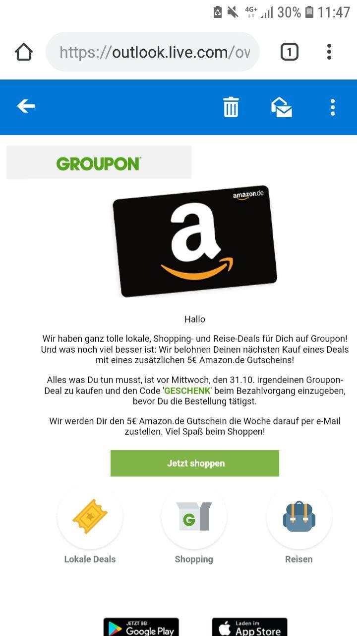 [Groupon] 5 € Amazon Gutschein für nächsten Einkauf