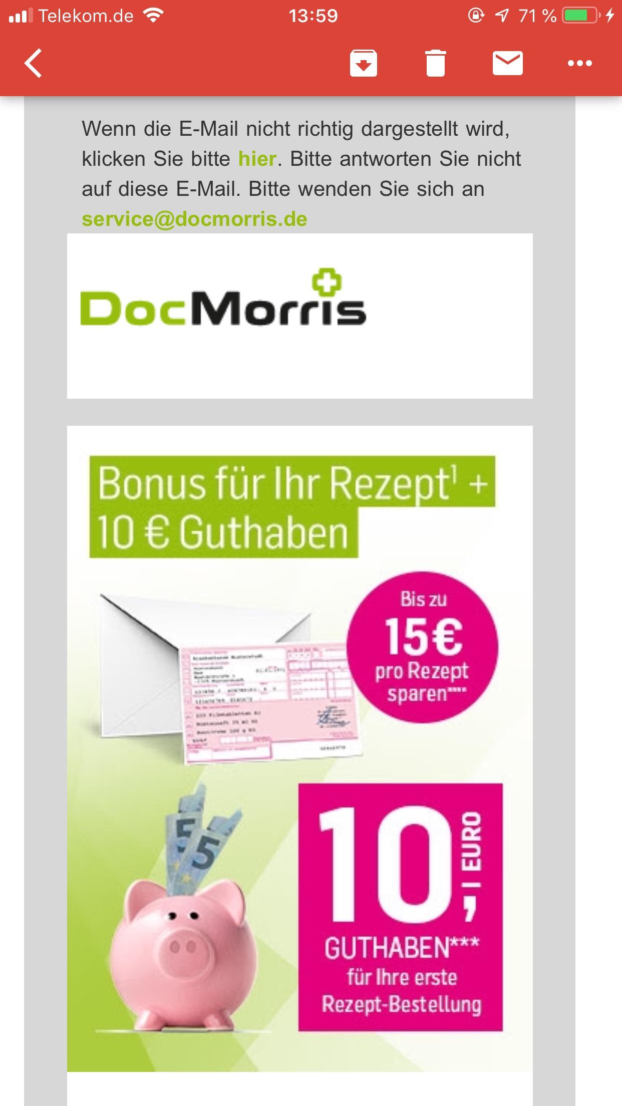 DocMorris 10€ Bonusguthaben für rezeptpflichtige Medikamente