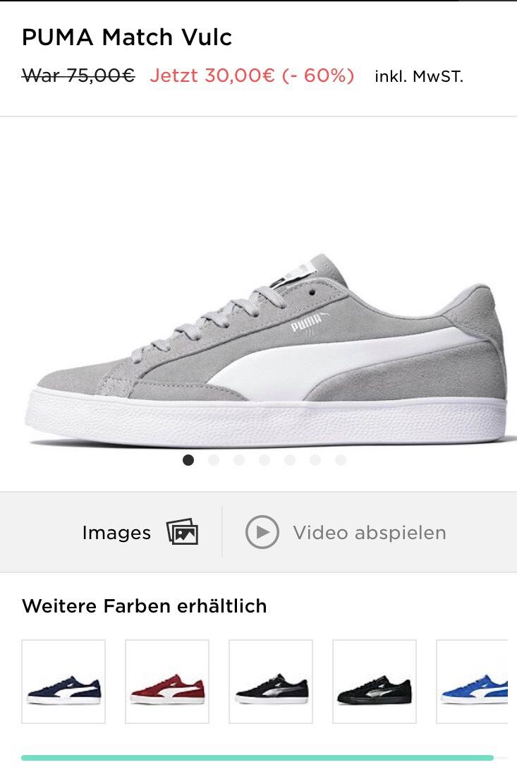 (JD Sports) Puma Match Vulc in grau, dunkelblau und helles blau für 30 bzw. 25€