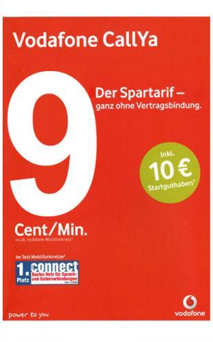 Vodafone CallYa Karte Talk & SMS mit 10€ Startguthaben