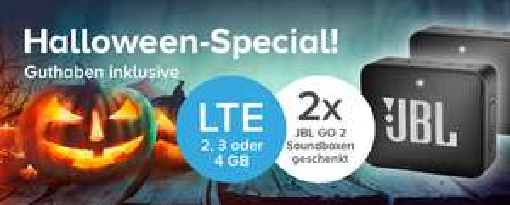 Tarifhaus Halloween-Special: Allnet Flat Tarife (o2) mit LTE (2 - 4GB) inkl. 2 x JBL GO 2 Soundboxen + Tarifhaus CLUB Guthaben