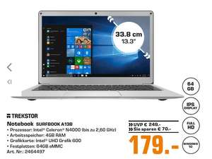TREKSTOR Surfbook A13B, Notebook mit 13.3 Zoll IPS-Display, 4 GB RAM, 64 GB in Silber für 179€ (SATURN Bochum & Hattingen)
