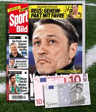 13 Ausgaben Sport Bild direkt vom Verlag für 16,90€ mit 15€ Verrechnungsscheck als Prämie