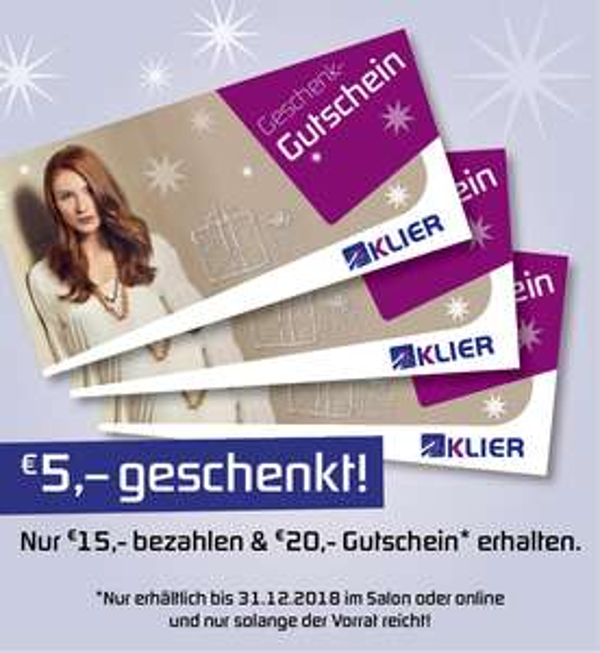 20€ Gutscheinkarte für Frisör Klier für nur 15€ bis 31.12.2018