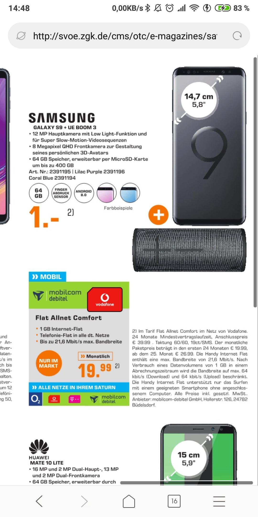 [local Köln] debitel vodafone  1GB + Samsung s9 + UE Boom 3 effektiv -29,17€