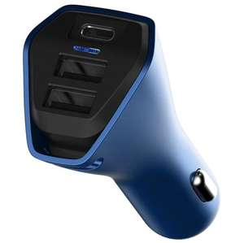 TCL CC01 KFZ Ladegerät mit USB-C (1x) und USB (2x) in blau oder rot