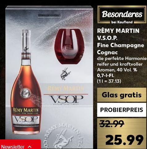 [Kaufland] Remy Martin VSOP Cognac 0,7 Liter mit Glas gratis