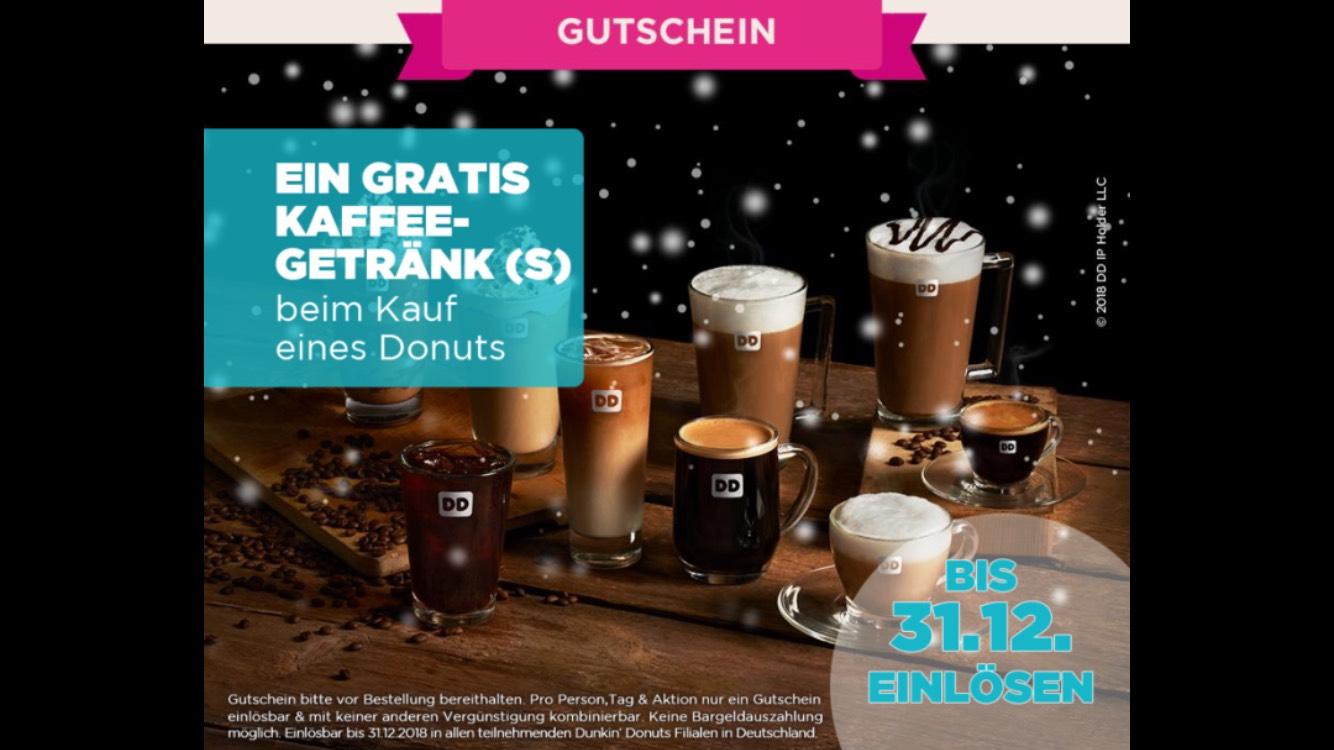 1 Donut kaufen und 1 Kaffee Getränk gratis bekommen