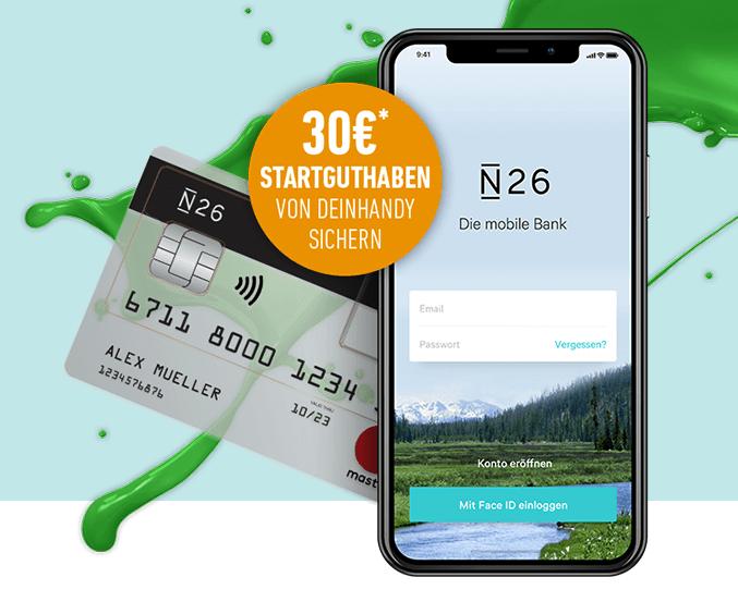 30€ Startguthaben für das kostenlose N26 Konto bei Abschluss eines Tarifs bei DEINHANDY