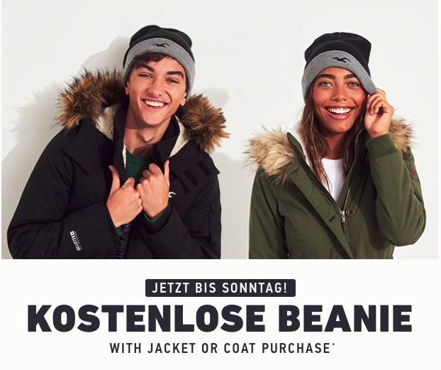 [HOLLISTER] Kostenlose Beanie beim Kauf einer Jacke oder Mantels