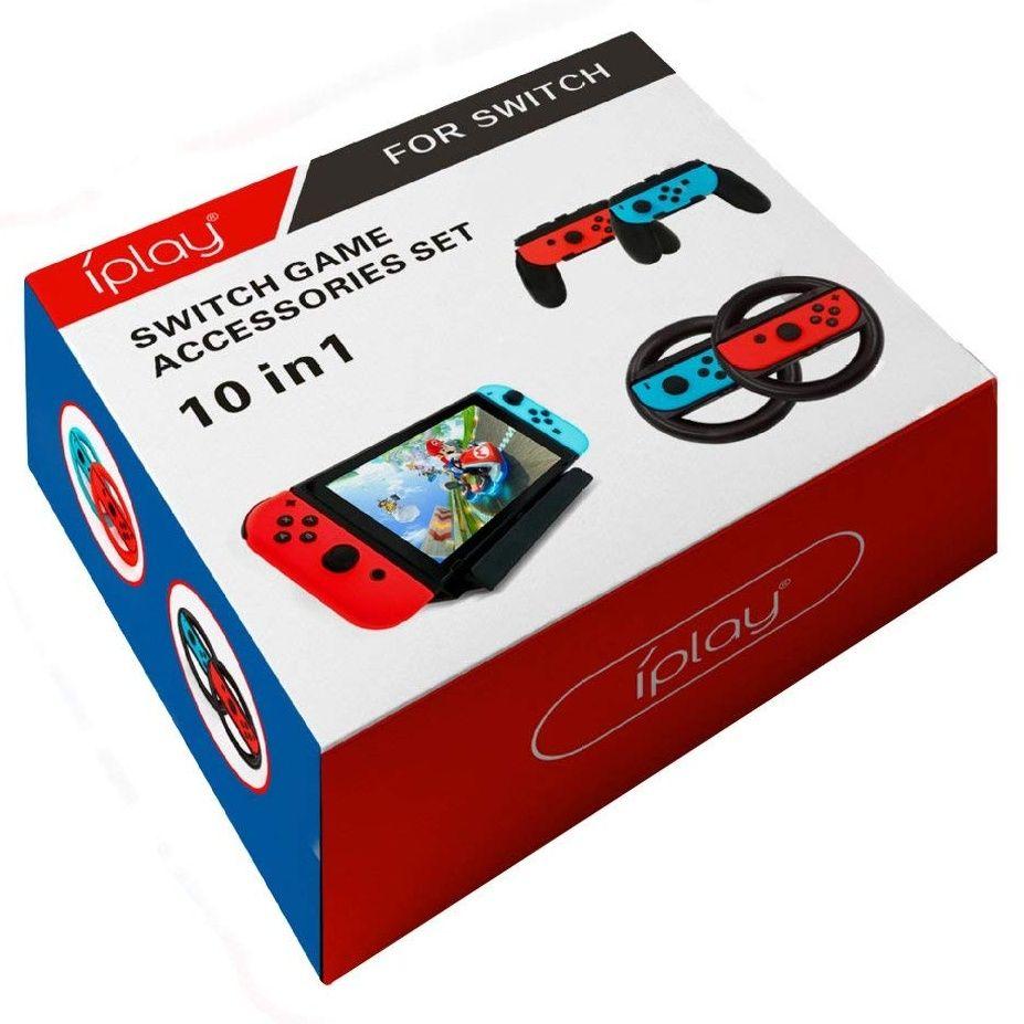Nintendo Switch 10in1 Kit - 4x JoyCon Lenkrad - 4x JoyCon Grip - Halterung und Ladekabel