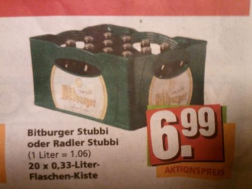 |Lokal| Bitburger (Radler-) Stubbi für 6,99€/Kasten in 53894 Kommern | So. 21.10.12