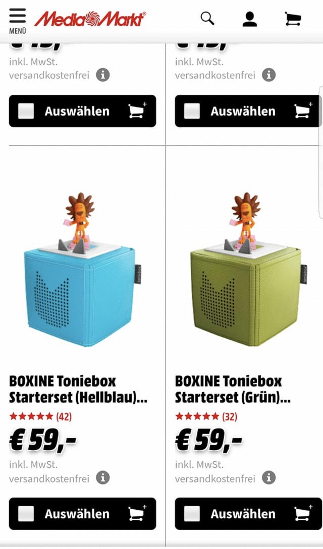 BOXINE Toniebox blau und grün mit Löwe 59Euro/ Content Tonies 12Euro