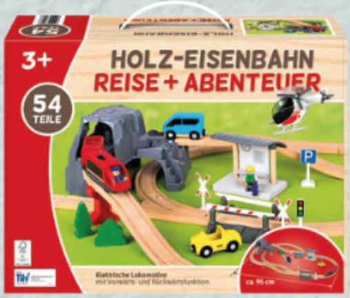 Holz-Eisenbahn oder -Autobahn 54 Teile [ALDI Süd]