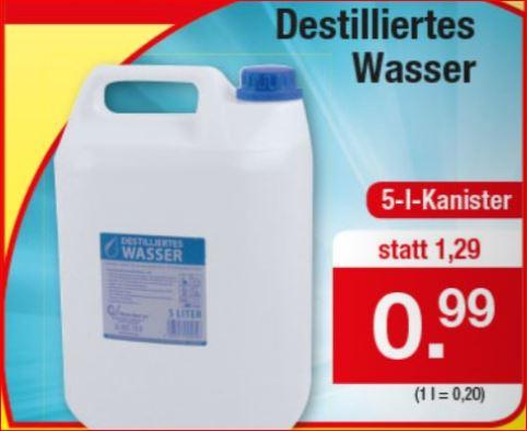 Destilliertes Wasser, 5 Liter-Kanister für 99 Cent [Zimmermann]