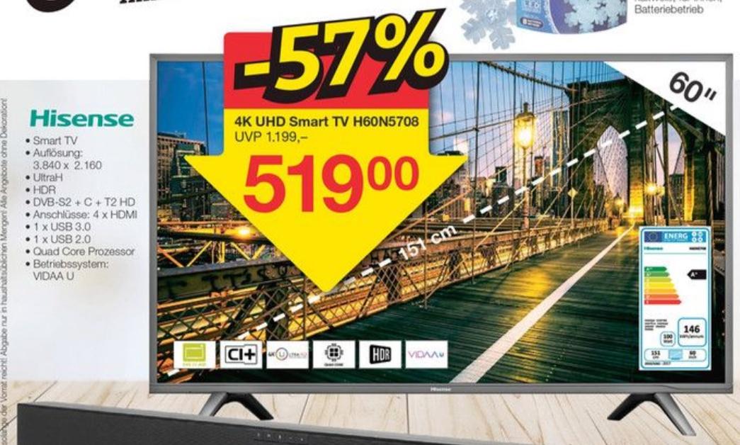 [Lokal Jawoll] Hisense H60N5708 60 Zoll UHD Smart TV - nur Offline