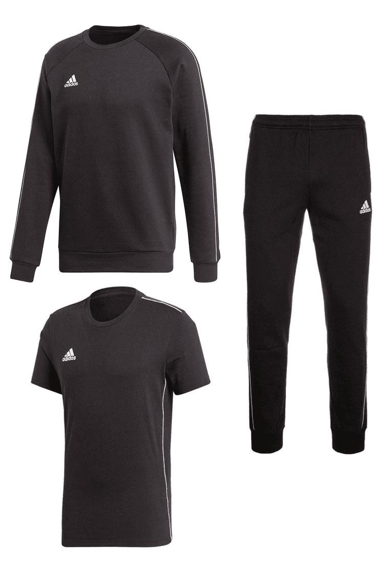 adidas Core 18 Set aus Pullover, Sweathose und T-Shirt in 4 Farben