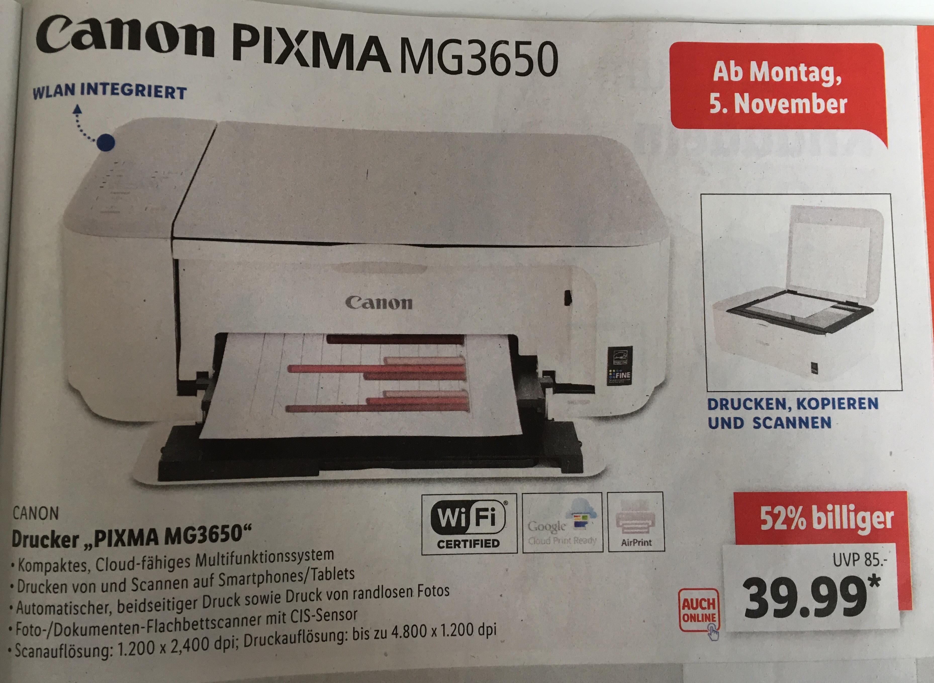 Canon MG3650 Multifunktions Drucker/Scanner/Kopierer