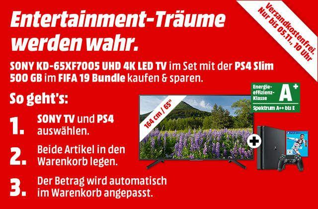 Media Markt: SONY KD-65XF7005 UHD 4K LED TV und PS4 Slim 500 GB FIFA 19 Bundle für 999 EUR