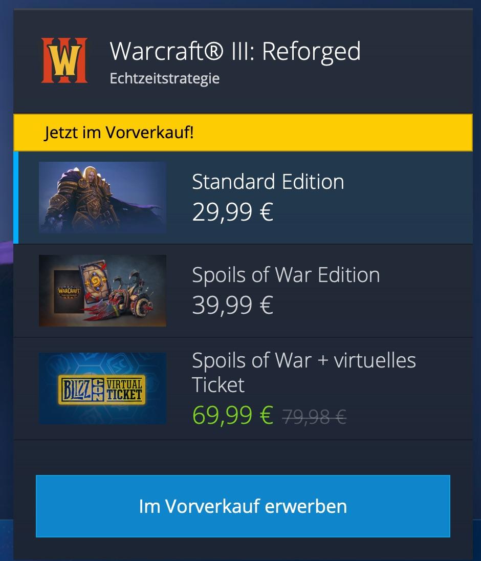 Blizzard Warcraft® III: Reforged Spoils of War Edition Pre-Order mit Blizzcon Ticket 9,99 EUR günstiger