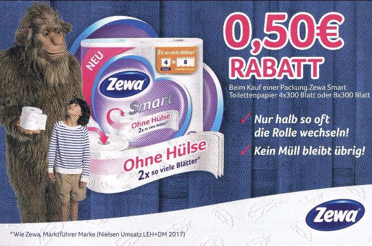 0,50 € Rabatt beim Kauf einer Packung Zewa Smart Toilettenpapier 4x300 Blatt oder 8x300 Blatt