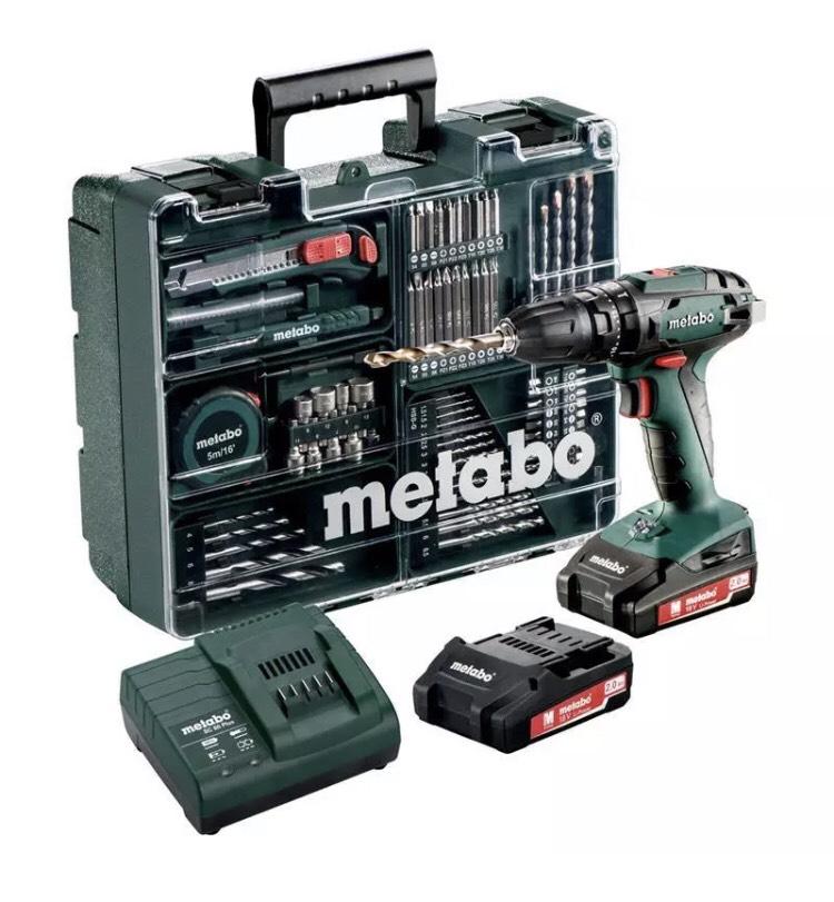 Metabo SB 18 Akku-Schlagbohrschrauber +Schnellspannfutter, 2 Akkus, Ladegerät, Koffer, Zubehör Set (Li-Ion 18V 2Ah) Akkuscbrauber