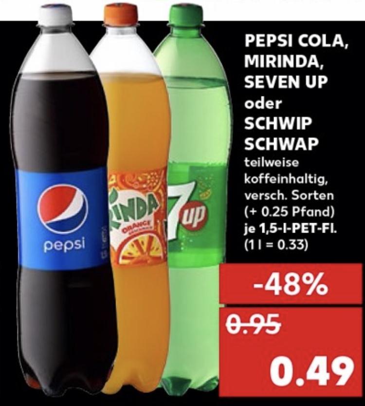 [Kaufland/Lidl] Pepsi Cola, Mirinda, Seven Up oder Schwip Schwap je 1,5 L Flasche für 0,49€