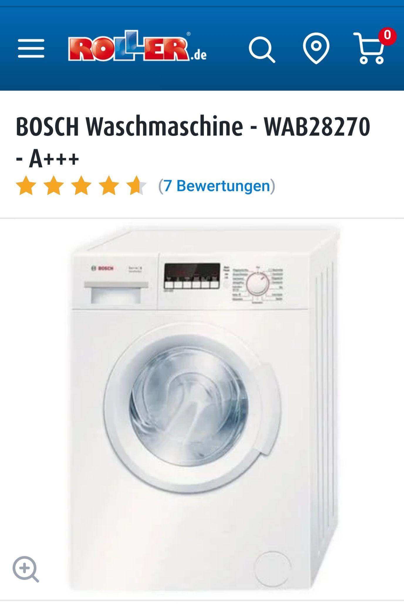 Bei Roller, Waschmaschine Bosch WAB 28270 für 299 Euro -20% = 239,20 Euro nur in Filialen verfügbar. PVG 339 Euro