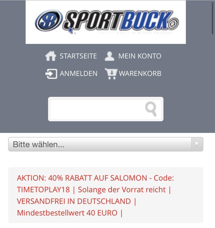 40% auf alles von Salomon bei Sportbuck.com