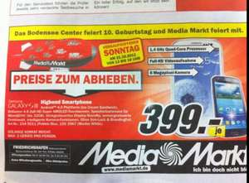 Samsung Galaxy S3 nur 399€ lokal nur am 21.10. um MM Friedrichshafen